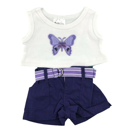 """Butterfly Purple Outfit Fits Build A Bear Workshop 12""""  16"""" Teddy Bears Cloths"""