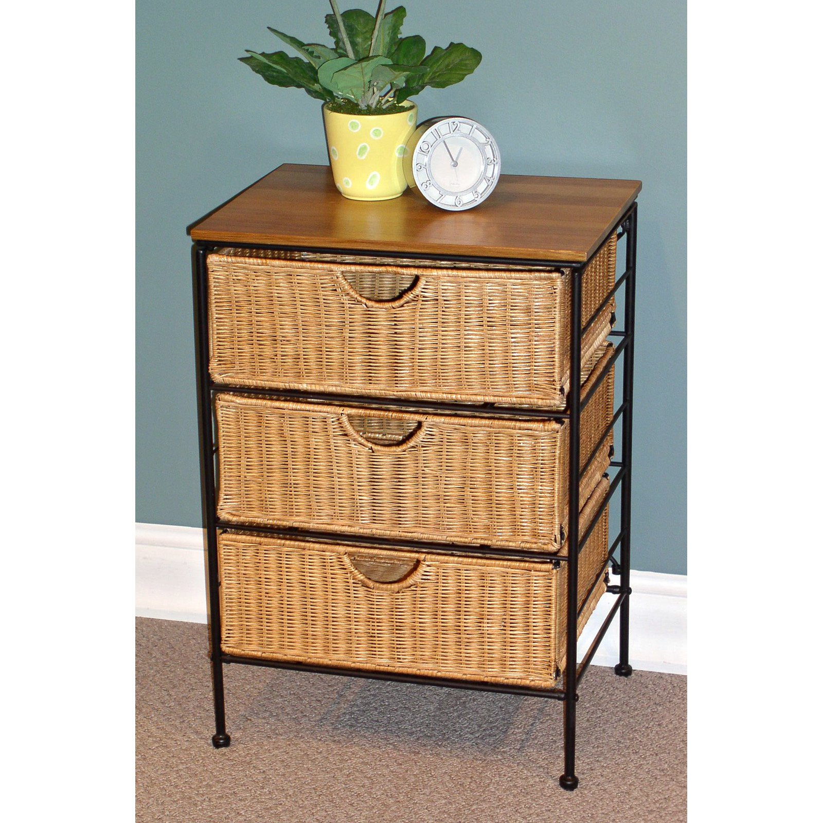 Three Drawer Chest, Wicker