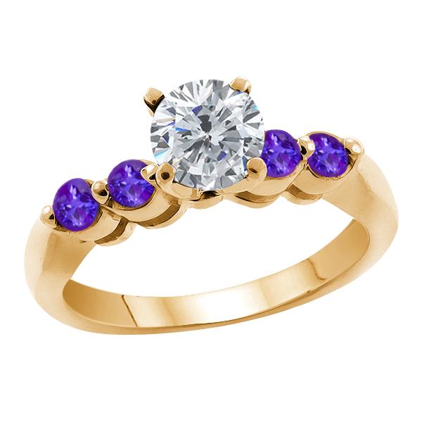 0.99 Ct Round Enhanced Diamond Purple Amethyst 14K Yellow Gold Engagement Ring