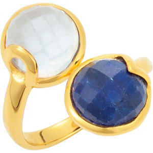 18K Yellow Vermeil Kyanite & Blue Chalcedony Ring Size 6 by