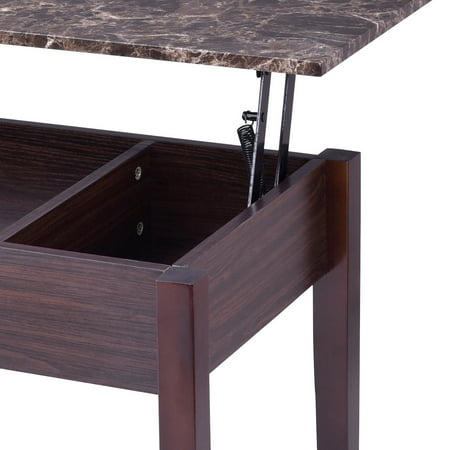 Costway Faux Marble Lift Top Coffee Table w/ Hidden Storage Compartment Solid Wood Legs