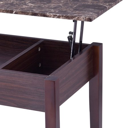 Faux Marble Lift Top Coffee Table W Hidden Storage Compartment