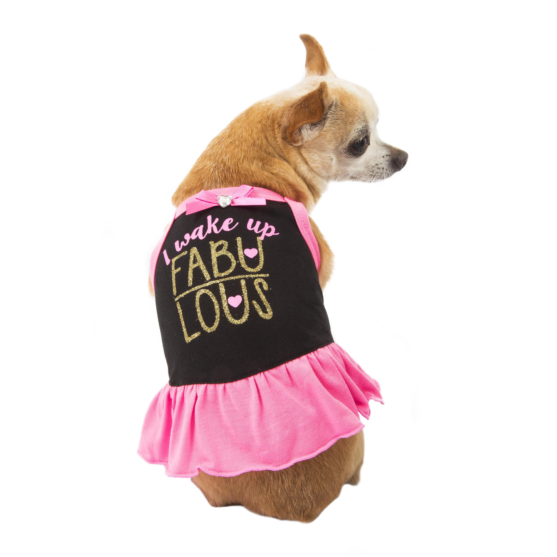 Simplydog I Wake Up Fabulous Black Dress, XS