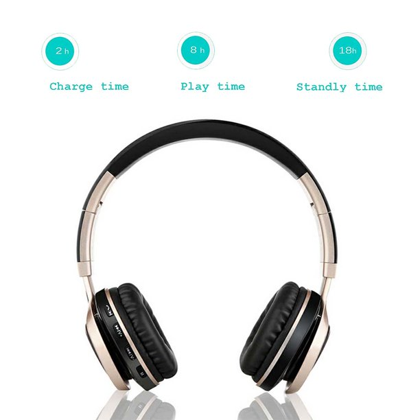 Amgra Wireless Bluetooth Headphones Over Ear With Mic And Volume Control Wireless And Wired Headset For Pc Cell Phones Tv Pad Gold Walmart Com Walmart Com