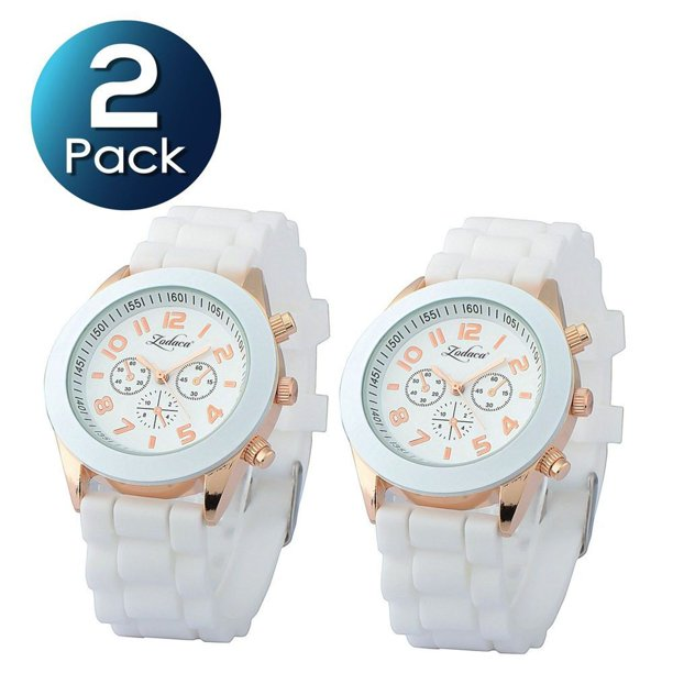 2 Pack Zodaca White Unisex Men Women Silicone Jelly Quartz Analog Sports Wrist Watch New
