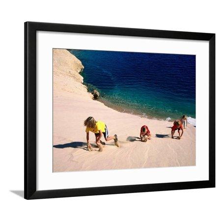 Childrens Climbing Frames - Overhead of Children Climbing Sand Dune Framed Print Wall Art By Philip & Karen Smith