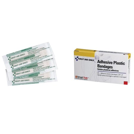 First Aid Only Plastic Bandages - First Aid Only 1-001 Adhesive Plastic Bandage, 25/Pack