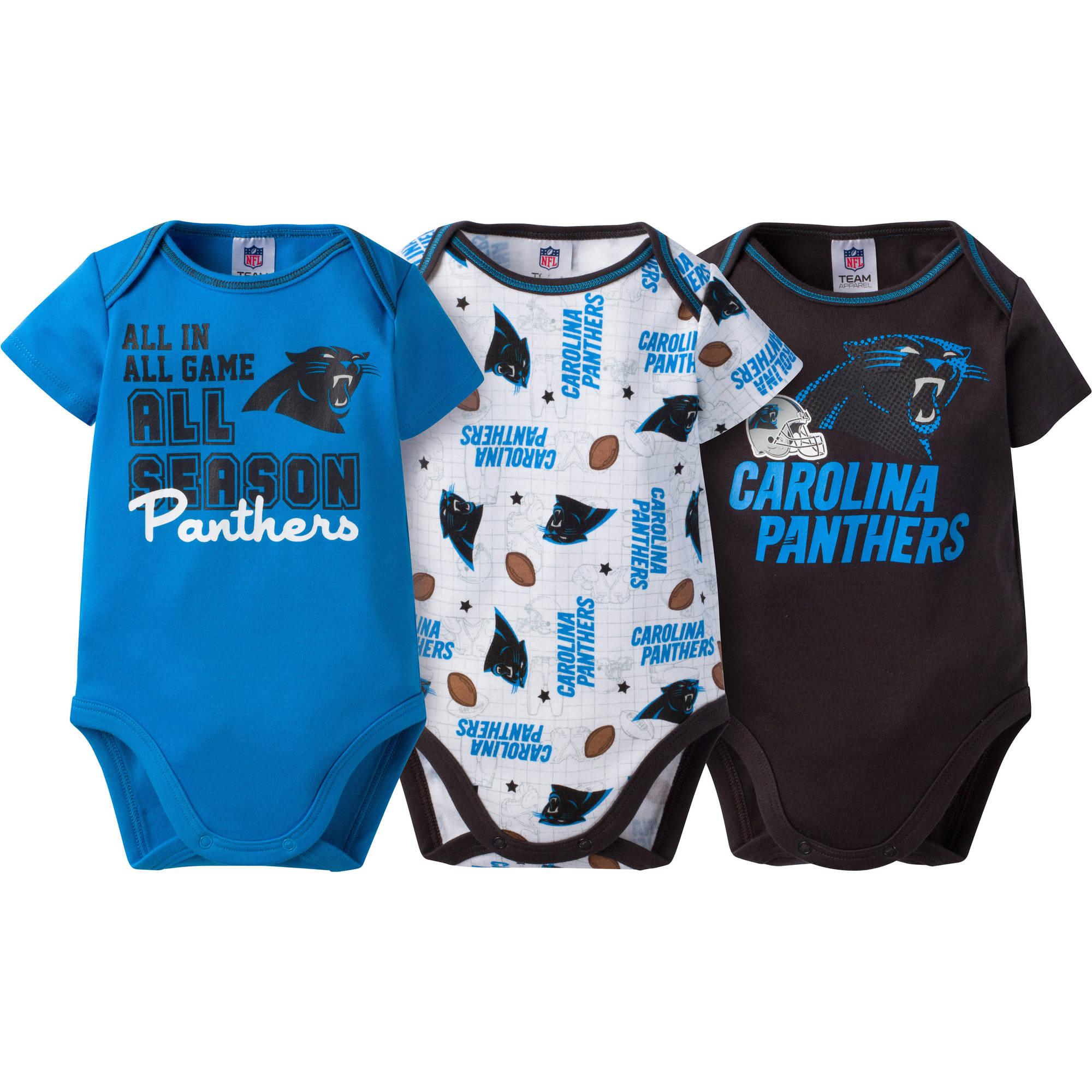 NFL Carolina Panthers Baby Boys Short Sleeve Bodysuit Set, 3-Pack