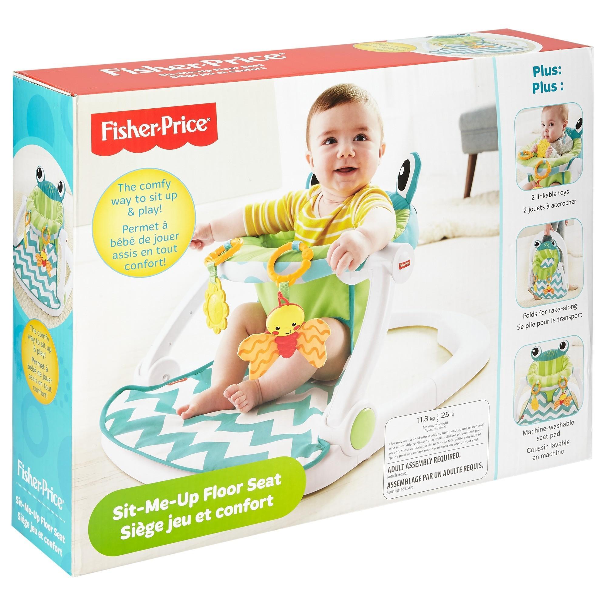 Fisher Price Sit Me Up Floor Seat Citrus Frog Walmart