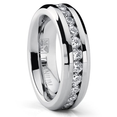 Women's 6MM Ladies Eternity Titanium Ring Cubic Zirconia Wedding CZ Sizes 4-9 Benchmark Titanium Wedding Ring
