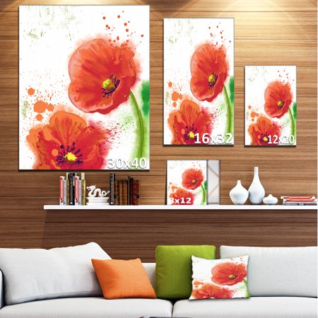 Bloomy Red Tulips Watercolor - Flowers Canvas Wall Artwork - image 3 de 4