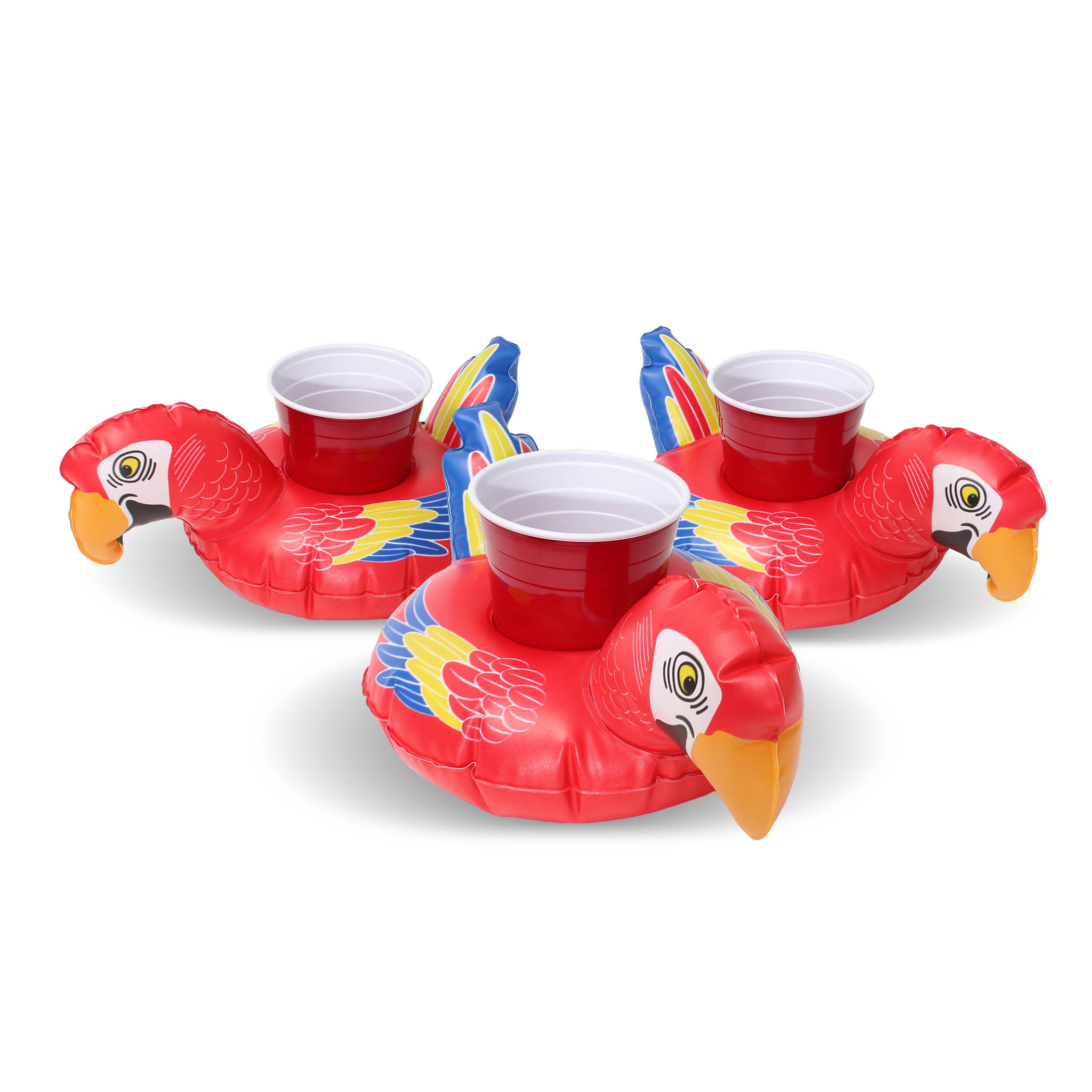 GoFloats Inflatable Party Parrot Drink Float (3 pack), Float your drinks in style