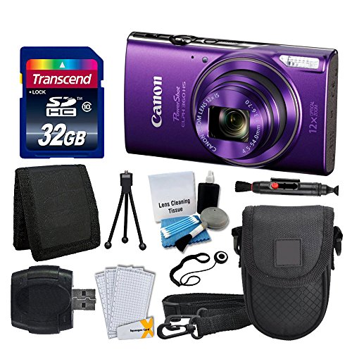 Canon PowerShot ELPH 360 HS Digital Camera (Purple) + Transcend 32GB Memory Card + Camera Case + USB Card Reader + LCD Screen Protectors + Memory Card Wallet + Cleaning Pen + Complete Accessory Bundle