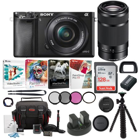 sony a6000 camera with 16-50mm & 55-210mm lenses (white) + creative & office software suite + accessory