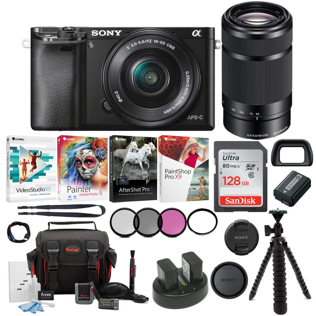 Sony Alpha a6000 Mirrorless Camera (Black) with 16-50mm and 55-210mm Lens Bundle