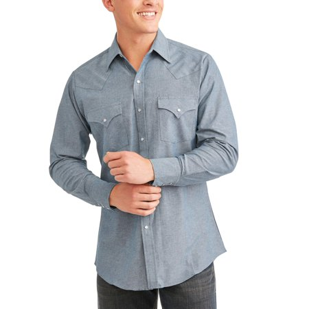 Ely Cattleman Big and tall men's long sleeve chambray western (Ely Cattleman Black Western Shirt)