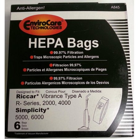 Riccar Vacuum Cleaner Parts (Vacuum Cleaner Bags 6 pk RICCAR HEPA Type A Vacuum Bags for Simplicity, Vibrance VIBCL2000 Part A845 )