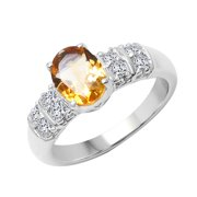 Sterling Silver Citrine and White Topaz Ring Size: 7, Color: Yellow