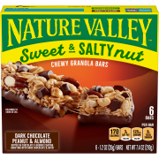 Nature Valley Sweet & Salty Nut Chewy Granola Bars, Dark Chocolate Peanut & Almond, 6 Ct, 7.4 Oz