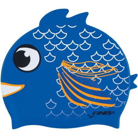 FINIS Animal Heads Kids Swim Cap In Bay Fish, One Size ()