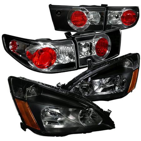 Honda Accord Rh Headlamp Light (Spec-D Tuning For 2003-2005 Honda Accord 4Dr Replacement Black Headlights + Tail Lights Brake Lamps 4Pc (Left + Right) 03 04)