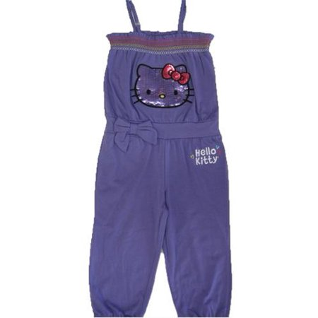 3930d1118aed Hello Kitty - Little Girls Purple Elasticated Neck Strappy Pants Romper 4-6X  - Walmart.com