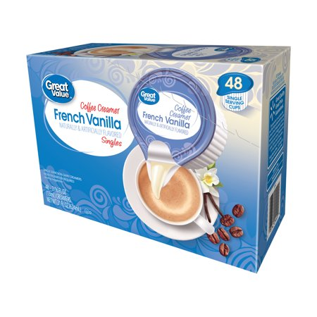 Creamer Dish - (2 Pack) Great Value Coffee Creamer Singles, French Vanilla, 21 fl oz, 48 Count