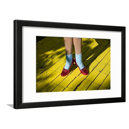 Ruby slippers worn by Dorothy Gale, Wizard of Oz Park, Beech Mountain, Yellow Brick Road, North... Framed Print Wall Art By Panoramic (Land Of Oz Theme Park Beech Mountain)