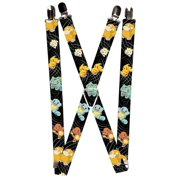 "Kanto Starter Pokemon Psyduck Togepi Pikachu Swirl Black Gray Suspenders   1.0"" Wide"