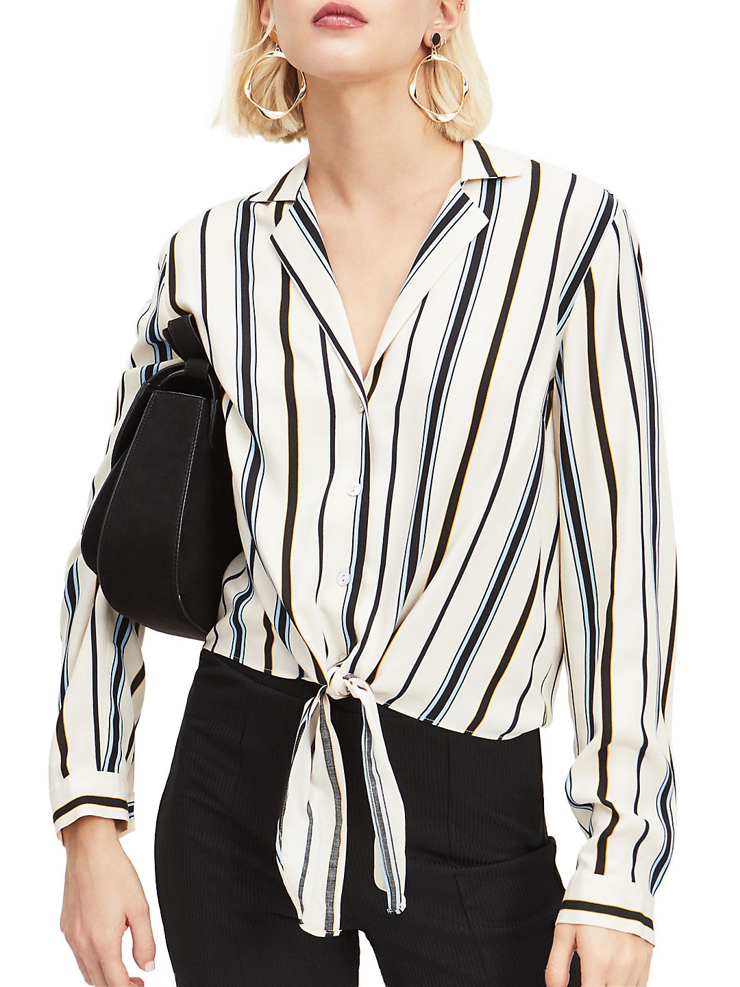 Striped Tie Front Top<br>
