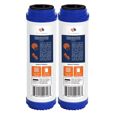 "2 Pack of Granular Activated Carbon 10"" x 2.5"" 5 Micron Water Filter Cartridges by Aquaboon"