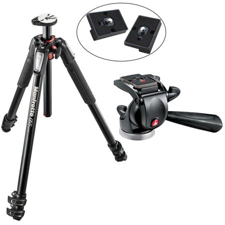 Manfrotto MT190XPRO3 3 Section Aluminum Tripod, 391RC2 Junior Head & 2 QR Plates ()