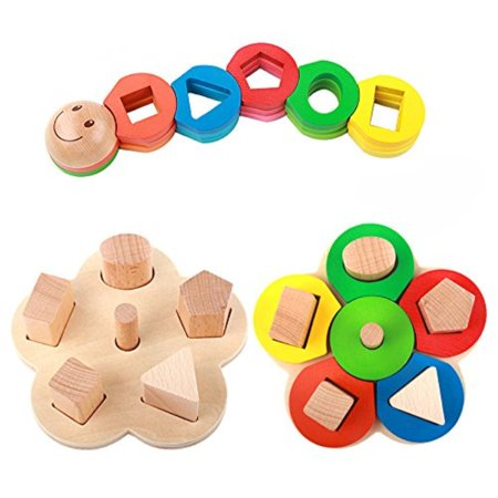 Rolimate Educational Preschool Wooden Shape Color Recognition Geometric Board Block Stack Sort Chunky Puzzle Toys Birthday Gift Toy For Age 3 4 5 Years Old
