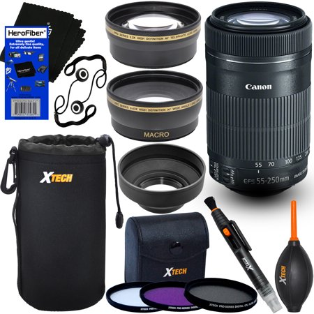 Canon EF-S 55-250mm F4-5.6 is STM Lens for Canon SLR Cameras + Telephoto & Wide Angle Lenses + 3pc Filter + 7pc Accessory Kit w/HeroFiber Gentle Cleaning Cloth