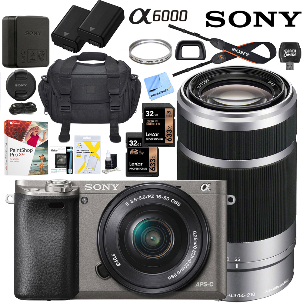 Sony Alpha a6000 Mirrorless Digital Camera with 16-50mm & 55-210mm Lens (Black) ILCE-6000L/B with Extra Battery Case + 2x Lexar Professional 633x 32GB SDHC/SDXC UHS-I Card Bundle