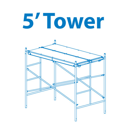 Granite Industries 5' H x 72'' W x 3.5'' D Steel Scaffold Tower with 375 lb. Load Capacity Type 2 A Duty Rating