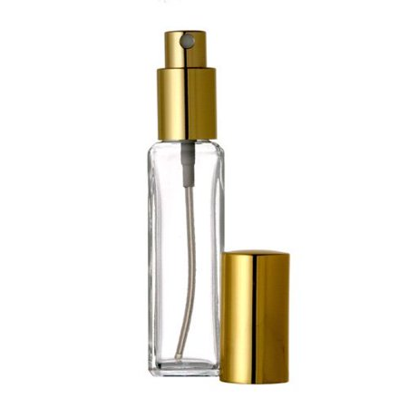 - Tall Square Style Empty Refillable Glass Bottle - 1 oz Size for Aromatherapy Bottles 30 ml Refillable (Set of 2 Purple Sprayer/Cap)