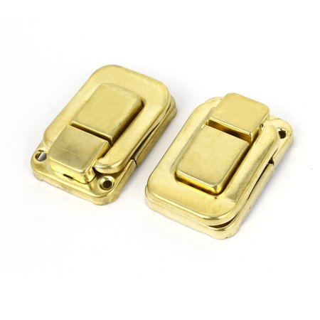 - 2pcs Spring Loaded Metallic Hinge Latch Hasp Sets f Wood Toolbox