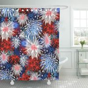CYNLON Home Fireworks Red White and Blue Patriotic Symbolic Stars Bathroom Decor Bath Shower Curtain 60x72 inch
