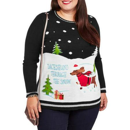 Women's Plus Dachshund Through The Snow Christmas Sweater