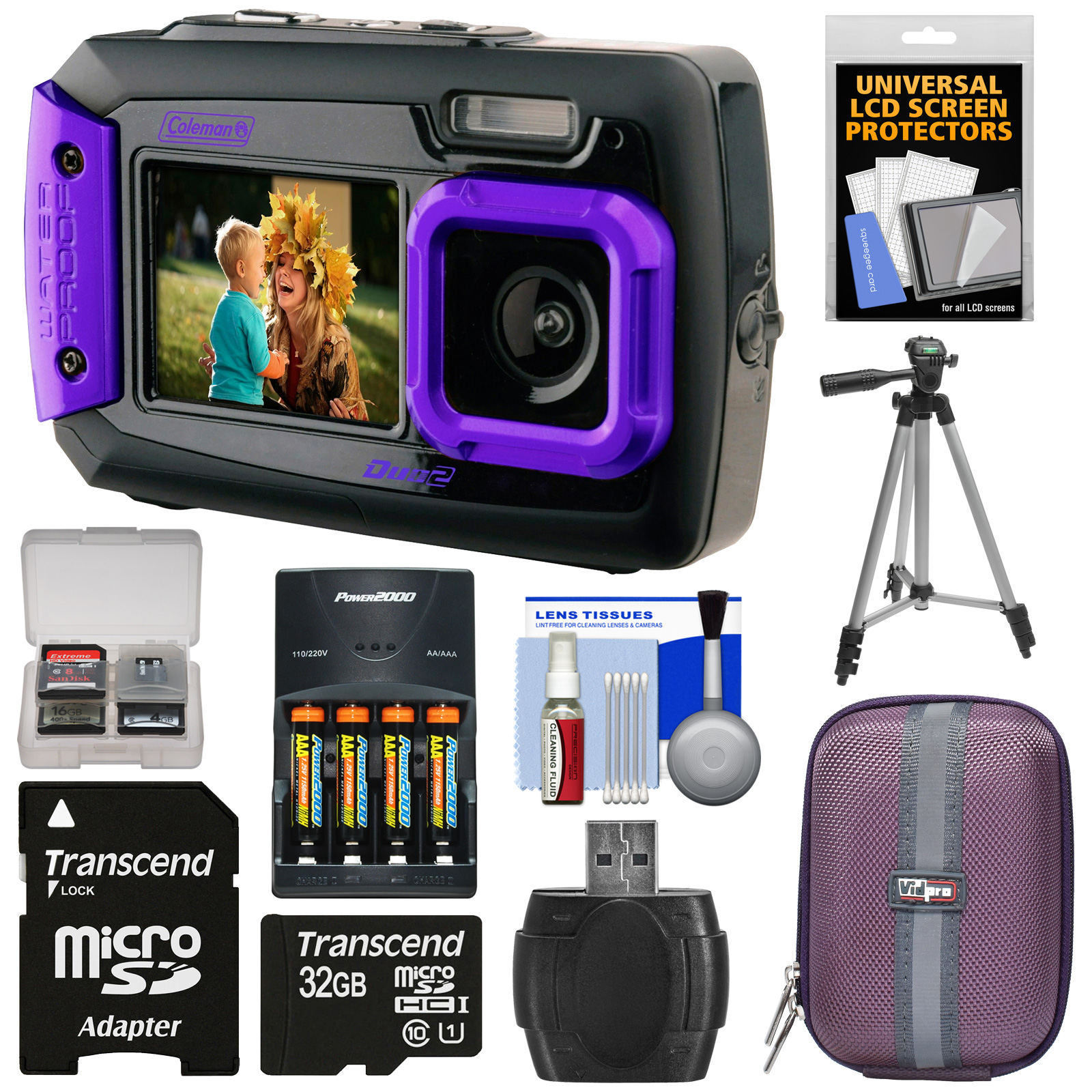 Coleman Duo 2V9WP Dual Screen Shock & Waterproof Digital Camera (Purple) with 32GB Card + Batteries & Charger + Case +... by Coleman