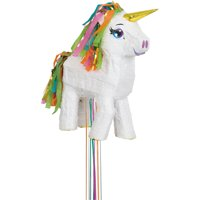 White Unicorn Pinata, Pull String, 15.5in x 17in