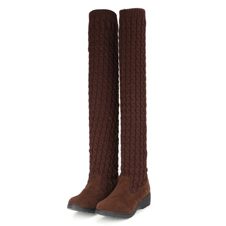 AU Womens Ladies Winter Warm Over Knee High Heel Boots Thigh Knit Stretch Shoes - image 1 of 2