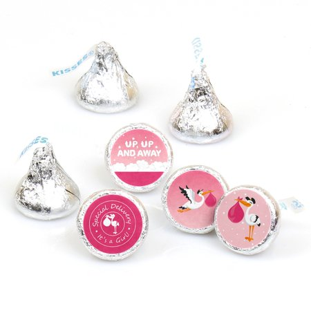 Girl Special Delivery - Pink Stork Baby Shower Round Candy Sticker Favors - Labels Fit Hershey's Kisses (1 sheet of (Special Delivery Stork)