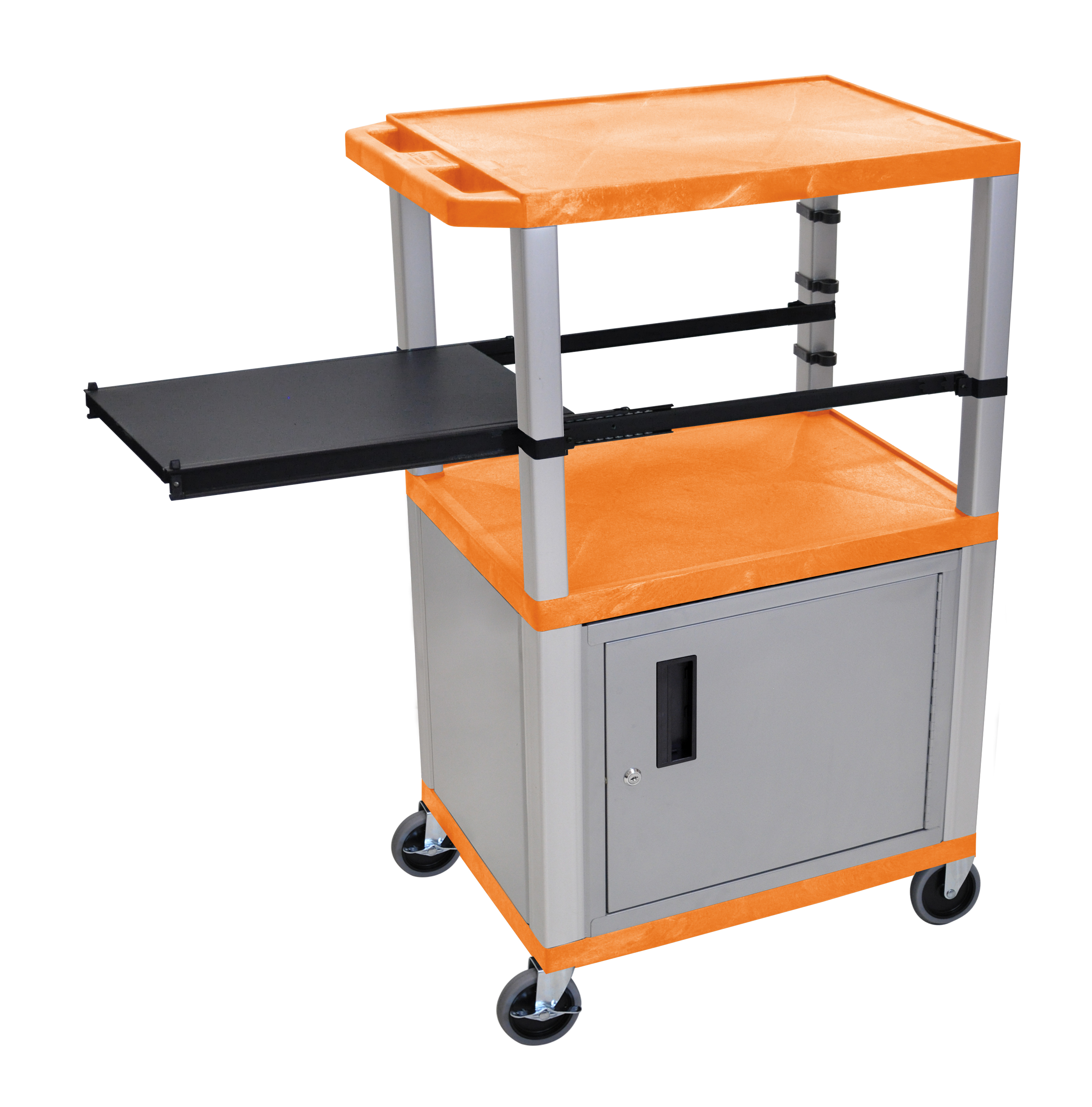 H WILSON WTPSP42ORC4E-N Presentation Station, 3-Shelf and Nickel Legs, Cabinet and Black Side Pull-Out Shelf, Tuffy, Orange