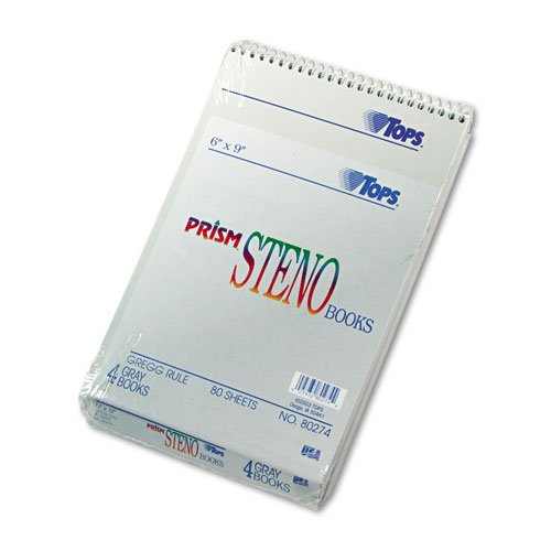 - Spiral Steno Notebook, Gregg Rule, 6 x 9, Gray, 4 80-Sheet Pads/Pack - Sold As 1 Pack - Letr-Trim perforations for a clean tear., Steno notebook with Gregg ruled.., By Tops