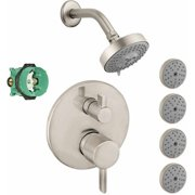 Hansgrohe KSB04447-04340-77PC Raindance Shower Faucet Kit with 4 Body Sprays PBV Trim with Diverter and Rough-In, Various Colors