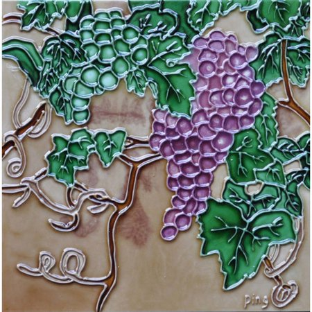 Continental Art Center Green and Purple Grape Tile Wall Decor