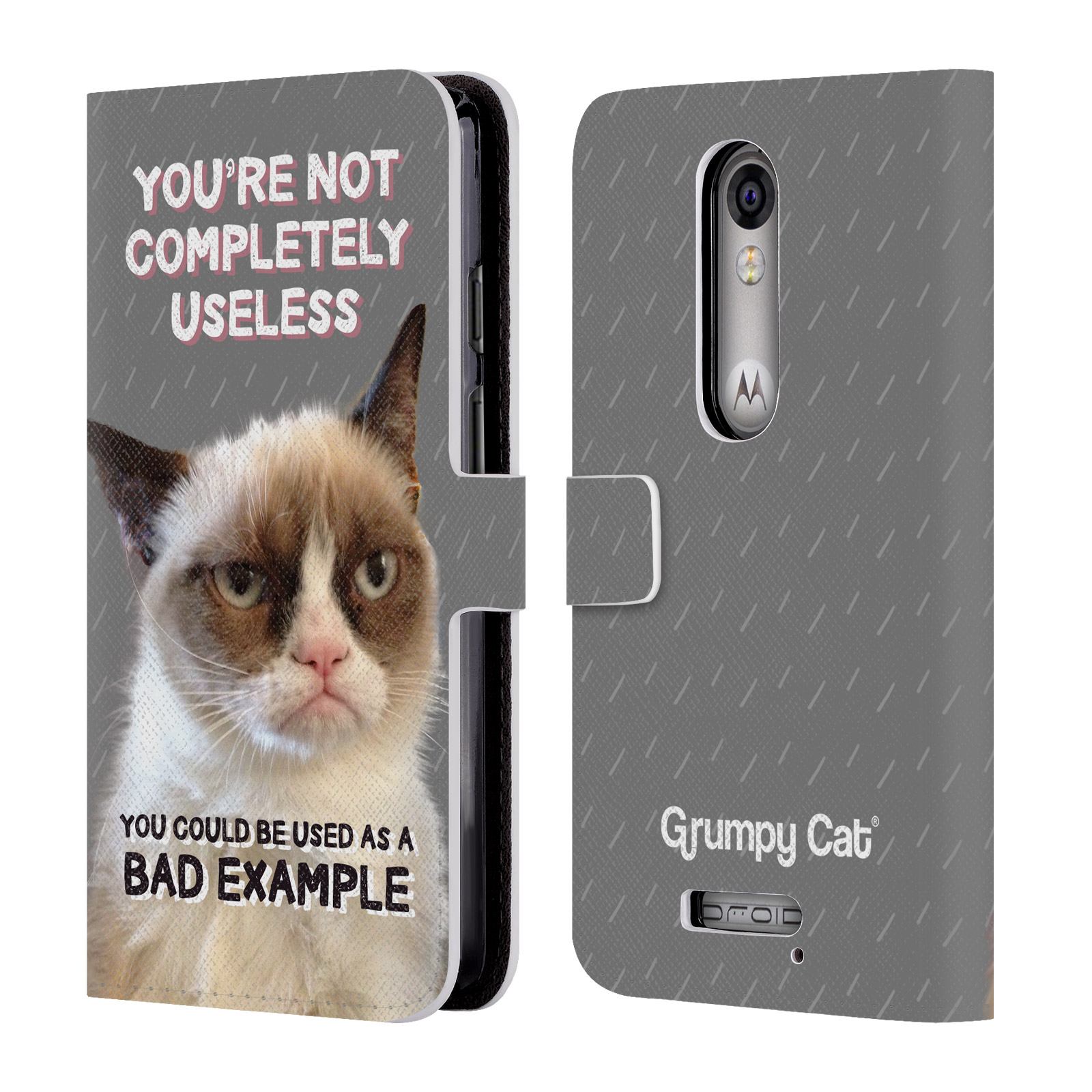 OFFICIAL GRUMPY CAT QUOTES LEATHER BOOK WALLET CASE COVER FOR MOTOROLA PHONES