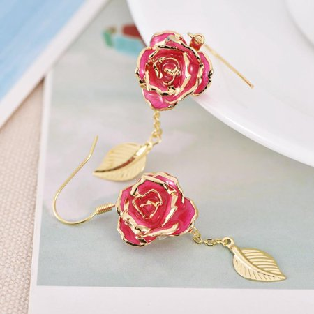 24K Gold Plated Rose Earring, French Hook Flower Dangle Earrings Gift,Earring
